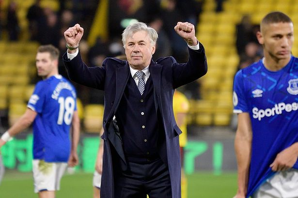 Carlo Ancelotti celebrating Everton's win against Burnley. Image: Tony McArdle/Everton FC via Getty Images