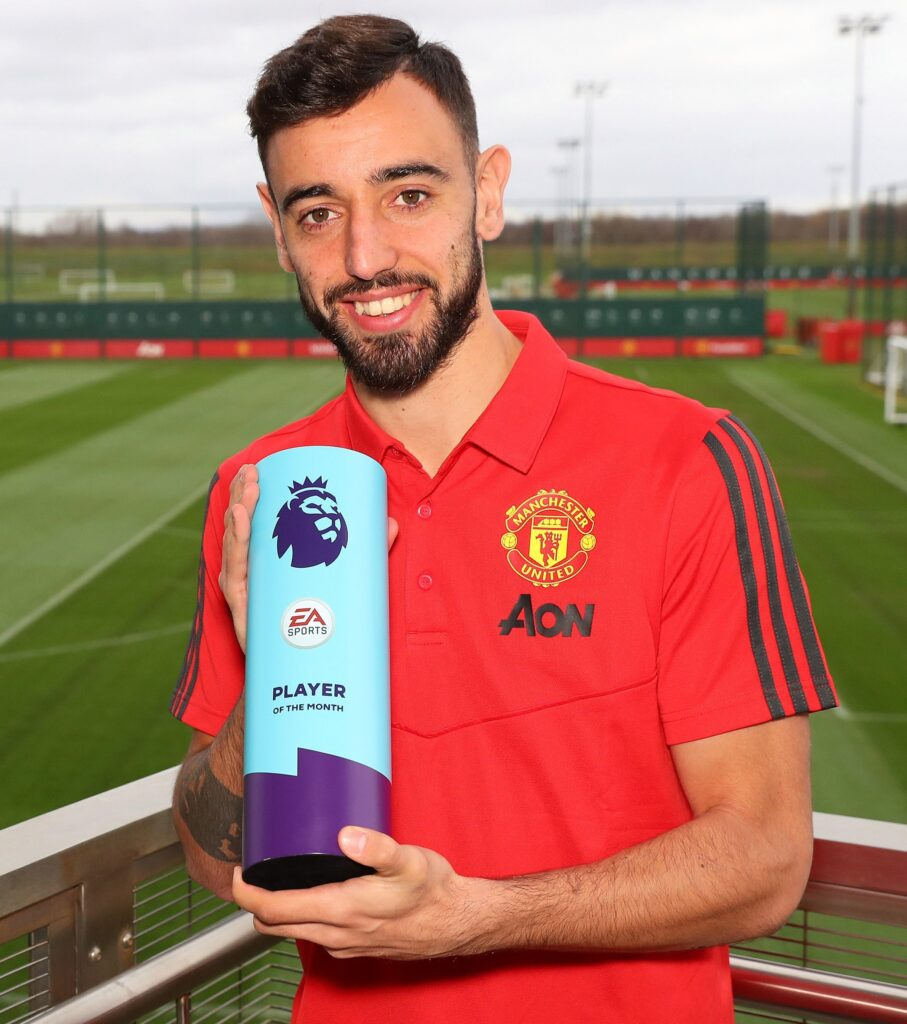 Bruno Fenandes with his June POTM award. Image: Getty Images