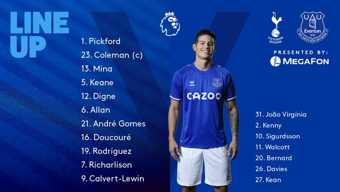 Carlo Ancelotti's Everton starting Line-up against Tottenham on Matchday 1. Credit: Everton Twitter