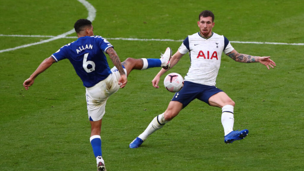 Carlo Ancelotti summer signing from Napoli Allan in action against Tottenham. (Photo by Tottenham Hotspur FC/Tottenham Hotspur FC via Getty Images)