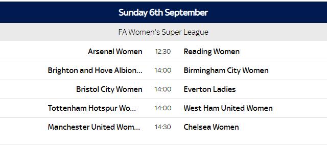 Women football fixtures
