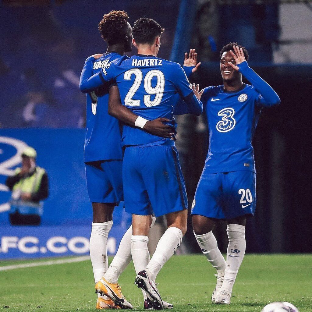 From left, Tammy Abraham, Kai Havertz and Hudson-Odoi celebrating a goal vs Barnsley. Kai Havertz scored a hat-trick