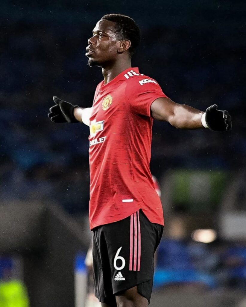 Pogba celebrating freekick goal vs Brighton in Carabao. Manchester Unite won 3:0