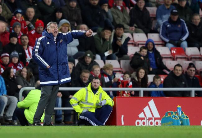 Sam Allardyce shouting instructions to his players. Photo by Chris Booth