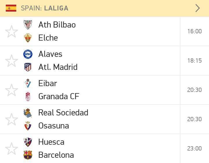 LaLiga fixtures this weekend.