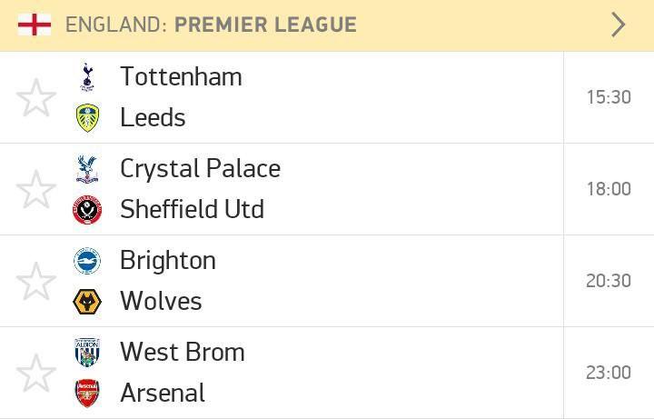 Saturday Premier League fixtures