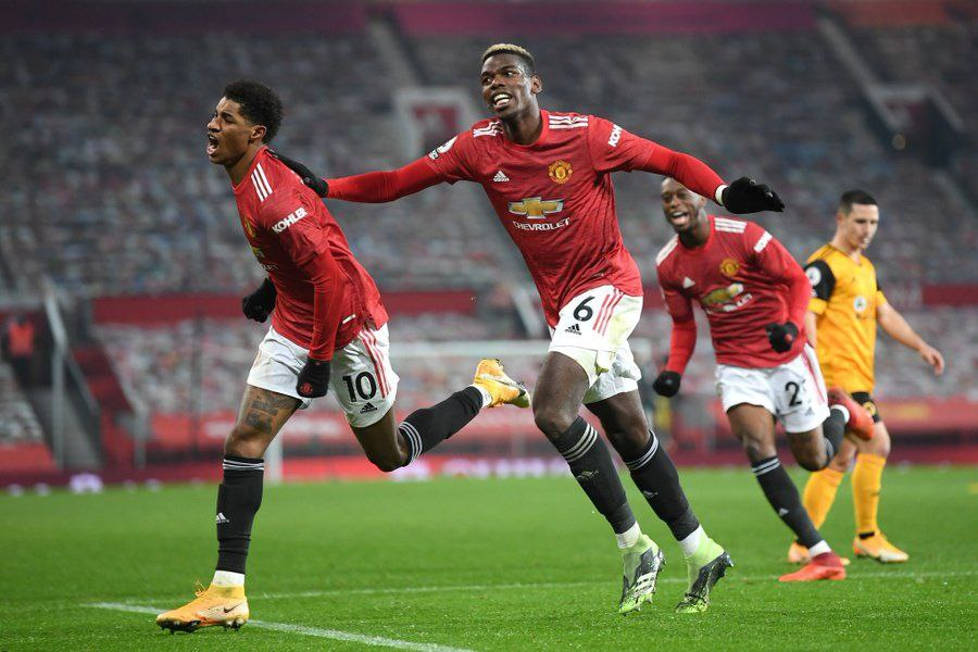 Rashford celebrating a past goal with Pogba and Wan Bissaka vs Wolves. Comparisons have been recently made between Rashford and Mane.