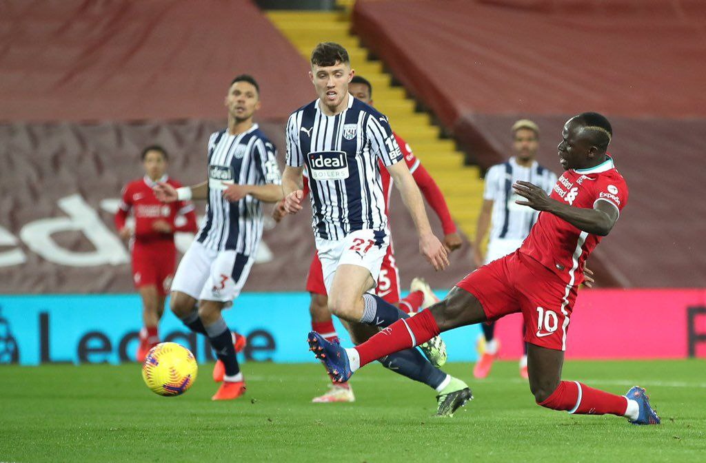 Sadio Mane vs WestBrom in a past match featuring for Liverpool, Premier League 20/21.