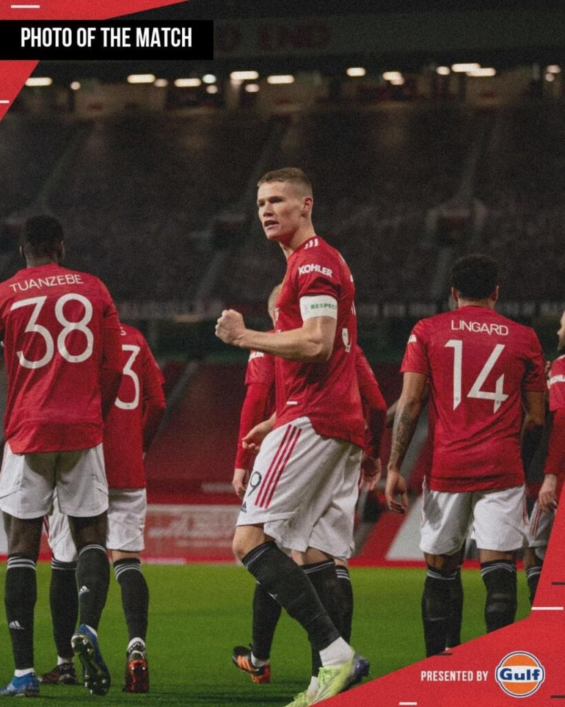 Scot McTominay celebrating his early goal vs Watford in the FA round 32. Manchester United won 1:0. Photo Credit : Manchester United