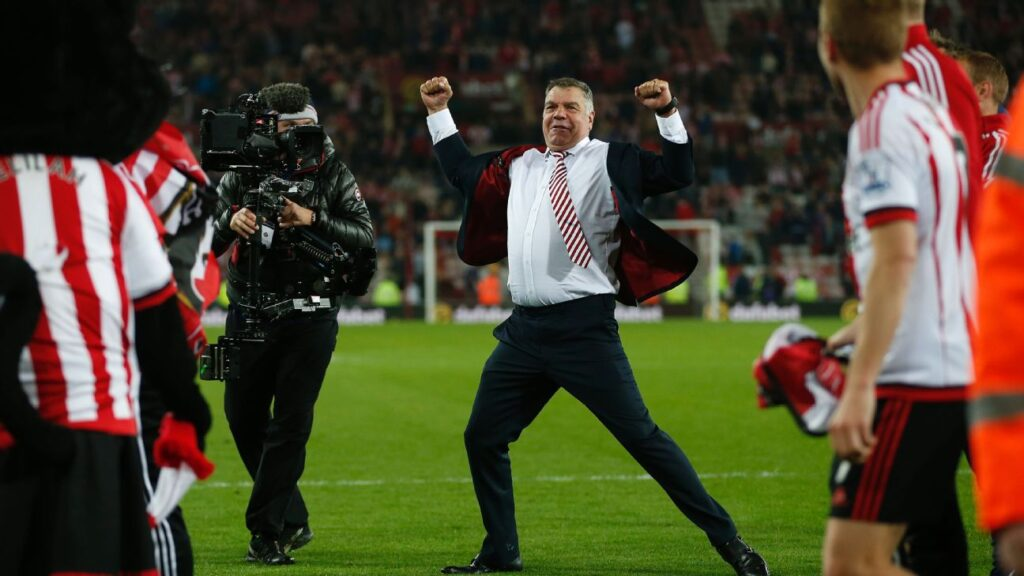 Sam Allardyce celebrating after helping Sunderland secure survival with a 3-0 win over Everton. (Image Credits: Owen Humphreys / PA Wire/Press Association Images)