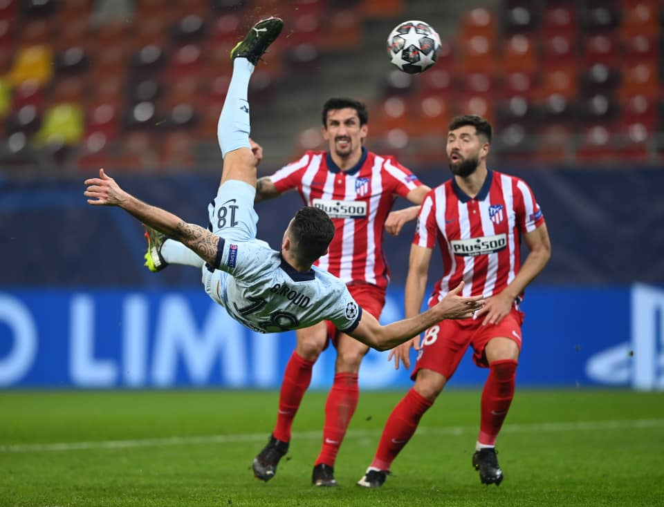 Olivier Giroud bicycle kick goal against Atletico Madrid. (Image: Getty Images)