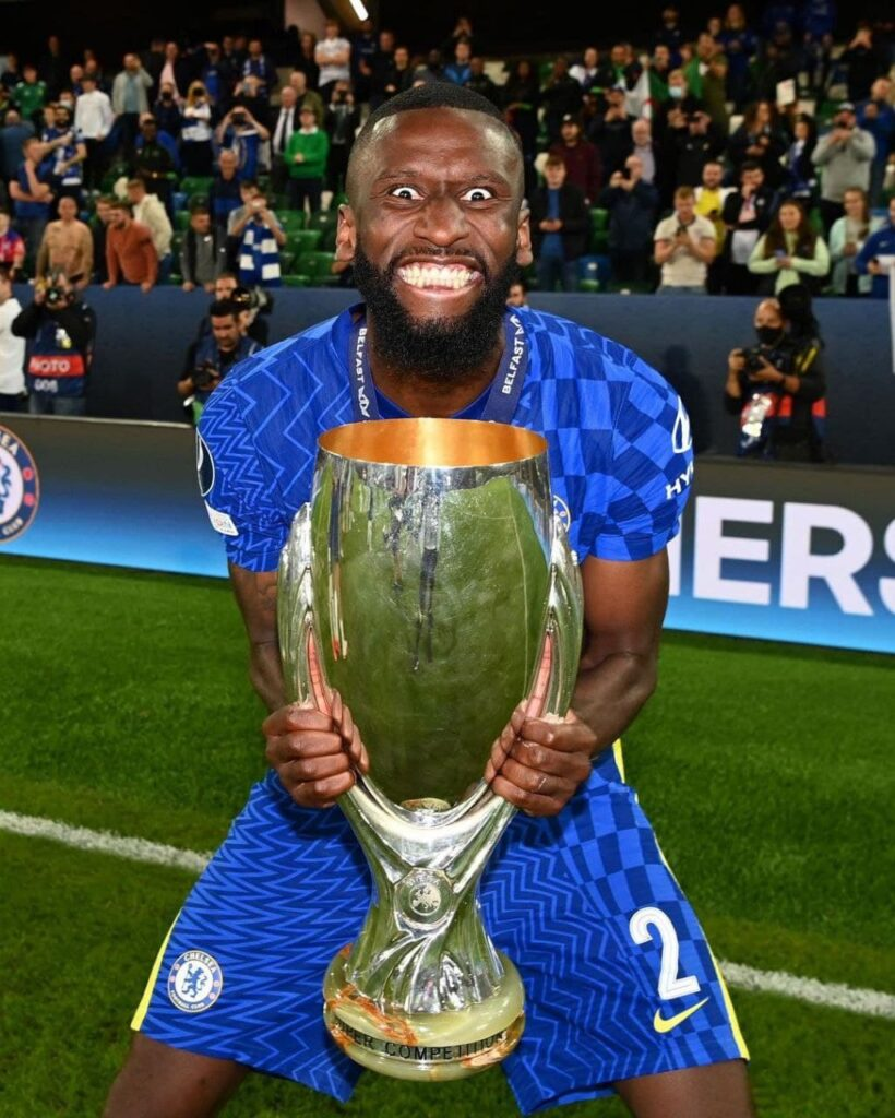 Rudiger celebrates holding the UEFA Supercup following their win over Villareal. Rudiger will be available to play in the London derby where Chelsea go head to head with Arsenal at the Emirates